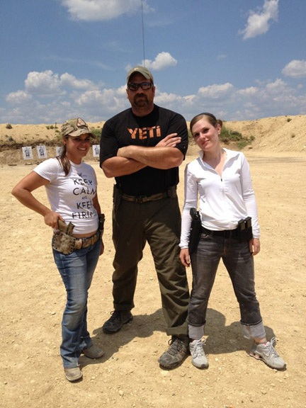 Ms. Jenkins and compatriot on the range with  the Yeti from Magpul Dynamics