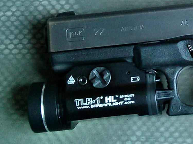 Streamlight TLR-1 HL weapon mounted light on Glock 22.
