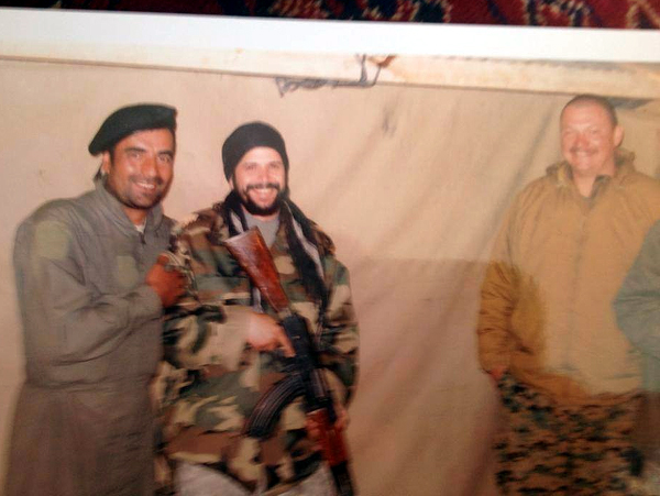 Author in Afghanistan. The Afghan captain next to him once threw a land mine at him as a joke.