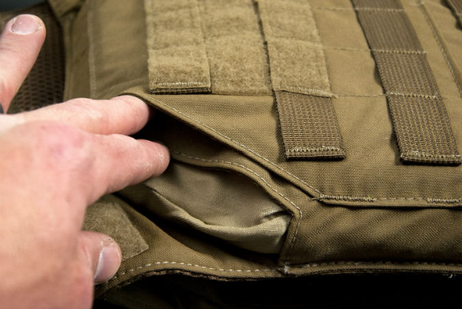 Looking in the side of the minimalist plate carrier from Grey Ghost Gear.