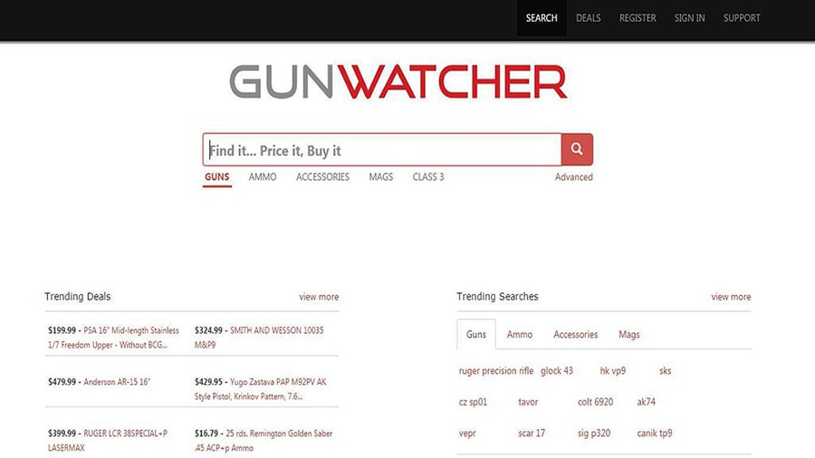 Gunwatcher provides access to pricing and information on both modern and historical guns
