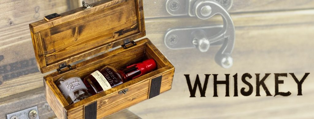 Reclaimed whisky barrel bottle storage crate. The Bourbon and Boots storage crate, built from reclaimed barrel staves - where else would you keep a bottle of George T. Stagg from the Buffalo Trace Antique Collection?