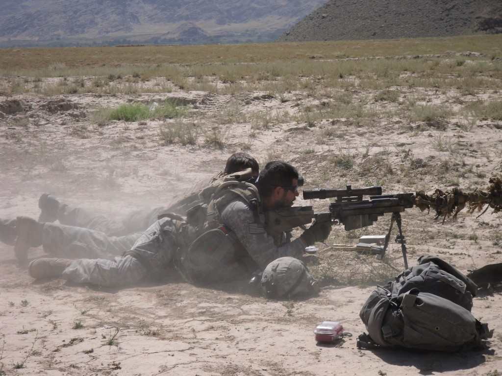 Firing a French PGM .50 sniper rifle