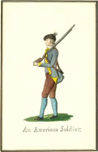An American Soldier - 1778 von Germann watercolor