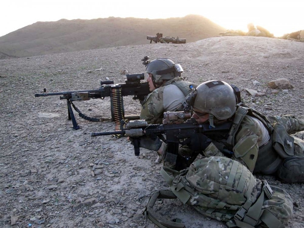 An Afghan-international security force targeted a compound in the Gulistam district after intelligence indicated militant activity in the Washir district, Helmand province, Afghanistan, March 8.