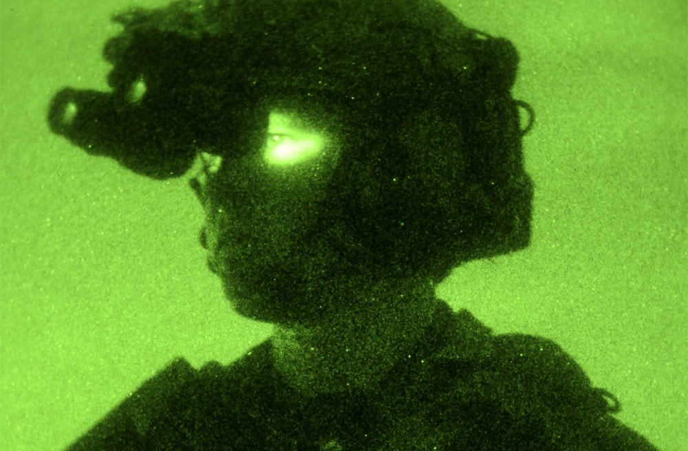 U.S. Army Ranger from 1st Battalion, 75th Ranger Regiment participating in MLAT (Multi-Lateral Airborne Training) nighttime airfield seizure exercise