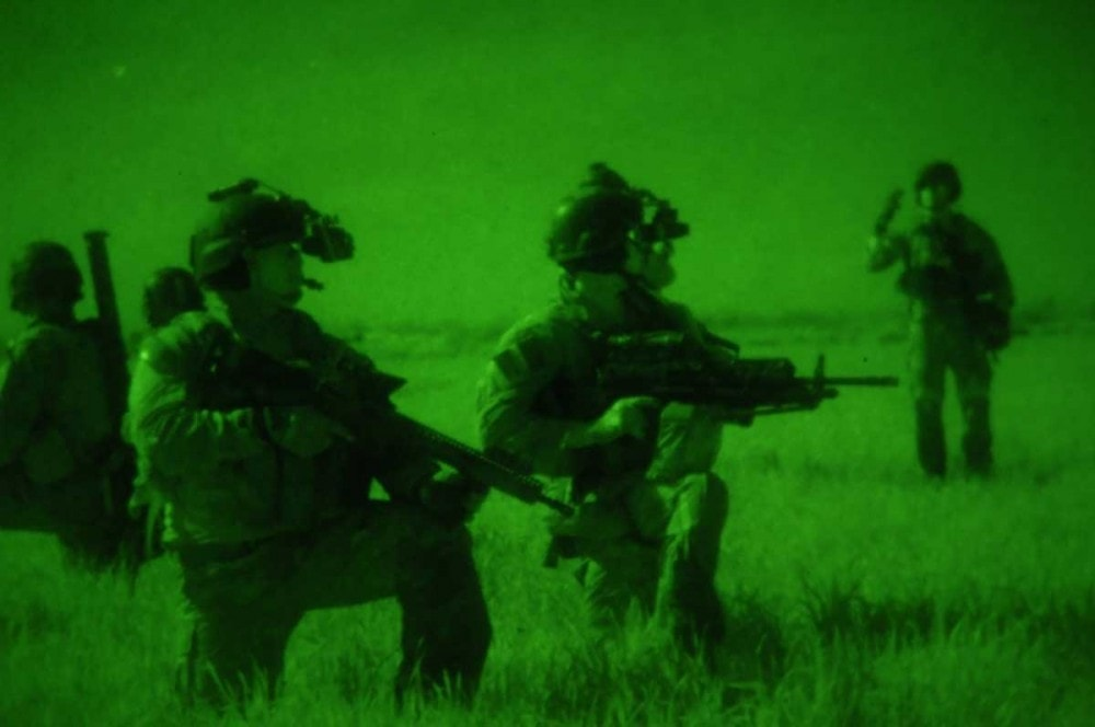 Army Rangers from 1st Battalion, 75th Ranger Regiment participating in MLAT (Multi-Lateral Airborne Training) nighttime airfield seizure exercise, 2015. Photo TSgt Jorge Intriago, 169FW.
