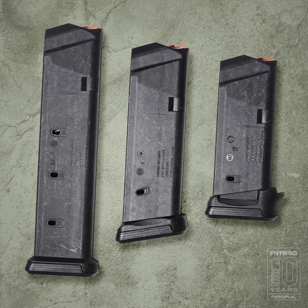 Glock PMAGs: Magpul Glock mags of different sizes.