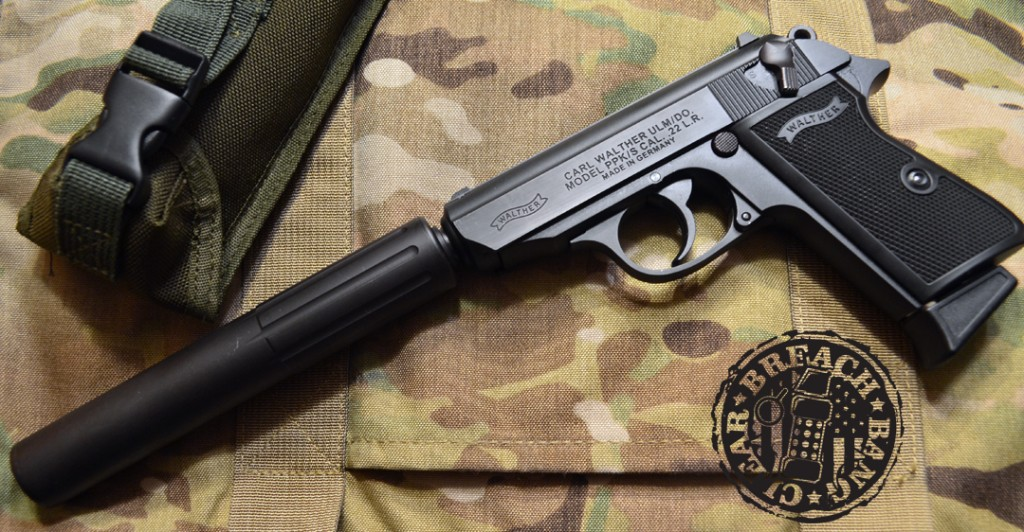Mounted on a Walther PPK/S in 22 lr, Underground Tactical's Little Puff looks like it was made for it.