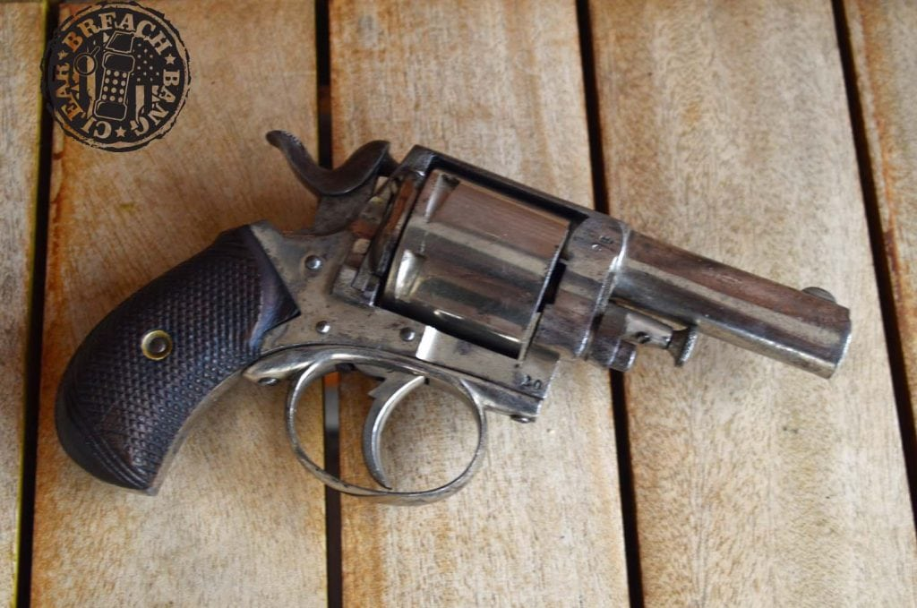 The British Bulldog, popular five-shot revolvers in the late 19th century.