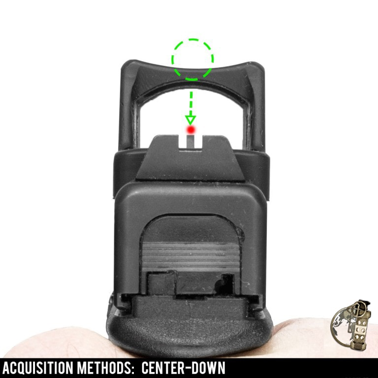 """Red Dot Sights for Pistol - using """"center down"""" to acquire the dot (or """"pick up the sights"""")."""