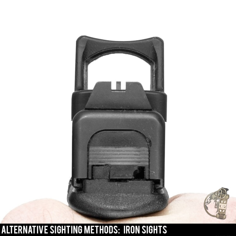 """Red Dot Sights for Pistol- although it is a simple, """"training wheel"""" type method, finding your red dot by using the pistol's iron sights will absolutely work."""