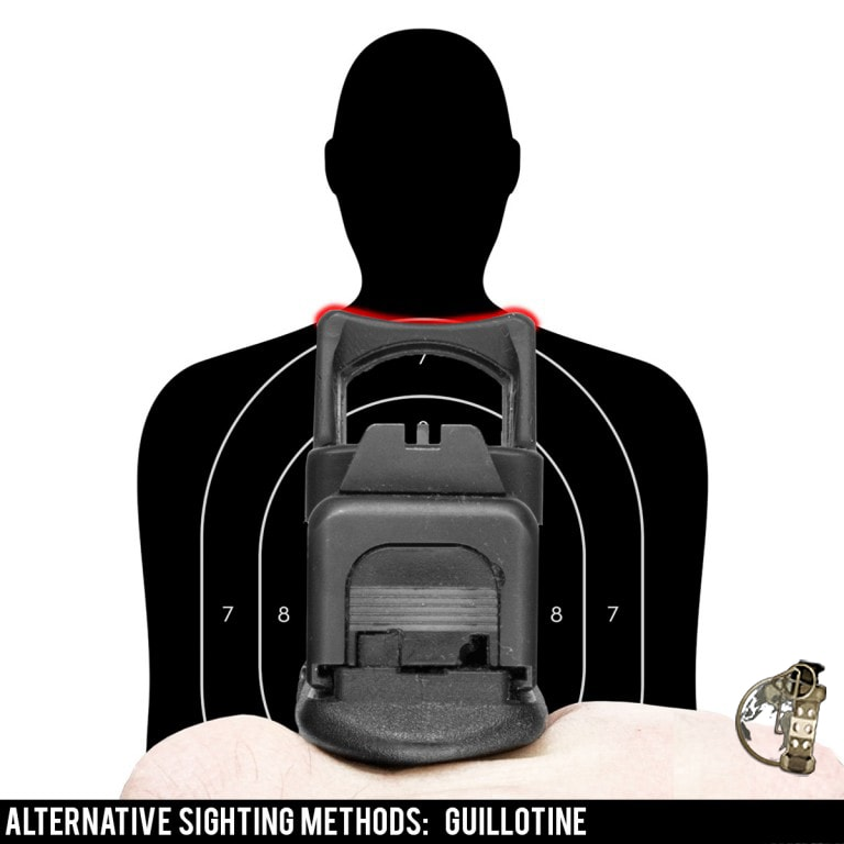 Alternative aiming techniques for a red dot pistol - the guillotine method.