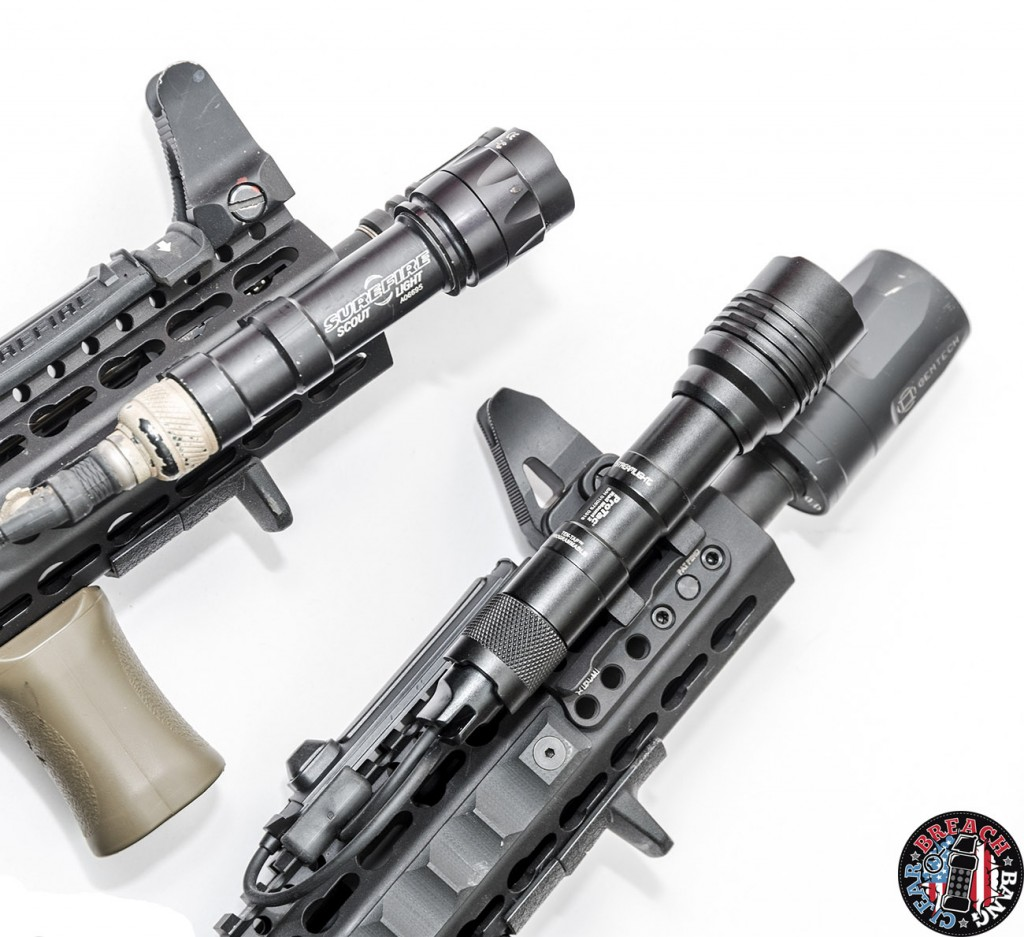 The Streamlight ProTac Rail Mount 2 is slightly longer than the M600 Surefire Scout.