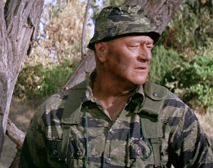 John Wayne in a tiger stripe camo boonie hat