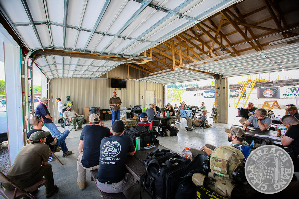 John Chapman address the students at the EAG Tactical Pistol Shoothouse