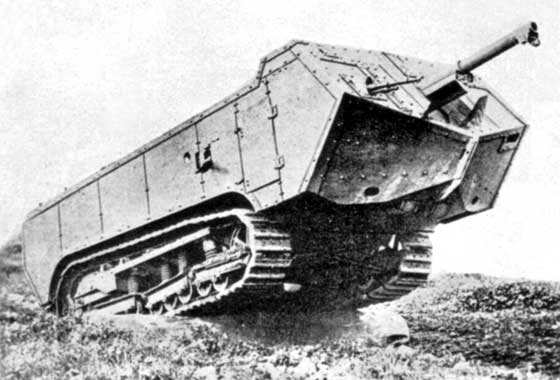 the French St. Chamond tank during trials.