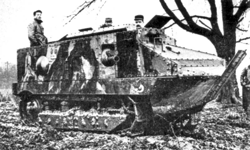 The WWI Schneider tank, one of the earliest French armored vehicle efforts.