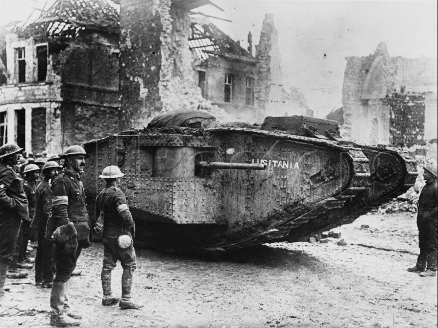 "The British tank ""Lusitania"" during a lull in combat, WWI."