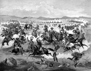 Black and White Image of the Battle of Little Bighorn.
