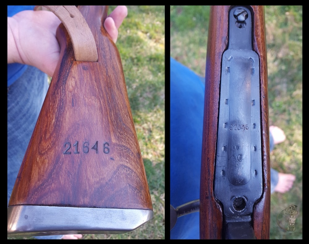 M48 Mauser buttstock with serial number and floorplate.