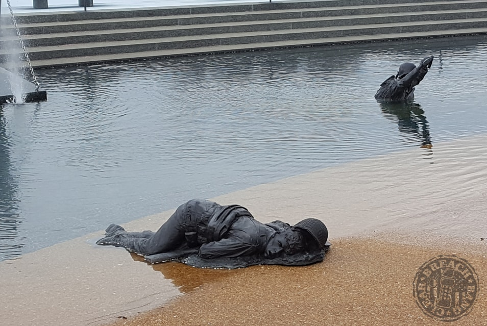 The Sculpture Death On The Shore The Detail Of Which Is Powerful The Sculpture Is Said To Be Of Raymond Hoback Of Bedford His Friends Saw Him Fall At The