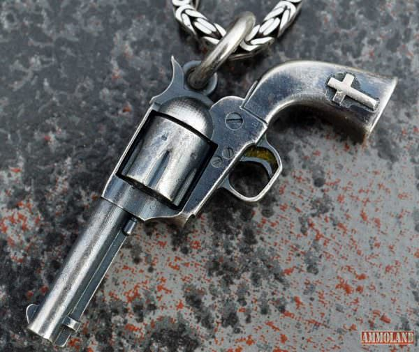 Steel Flame Hand of God Revolver Pendant
