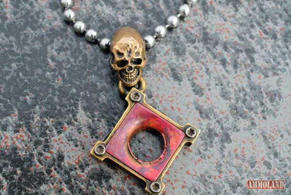 Steel Flame Kill Box Bullet Hole Pendant