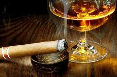 Smoking Cigar and Whiskey