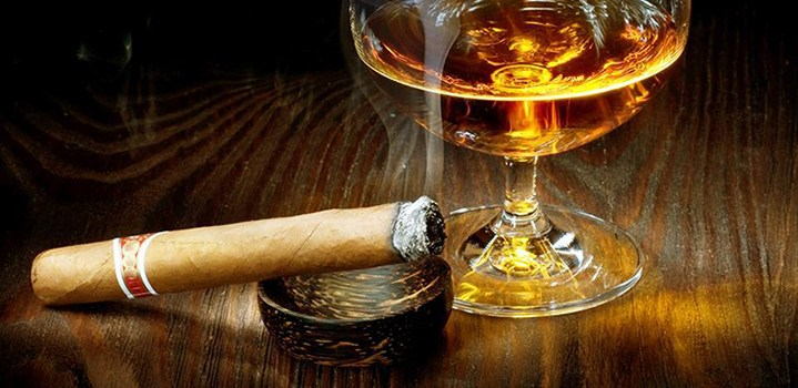 Smoking Cigar and Whiskey