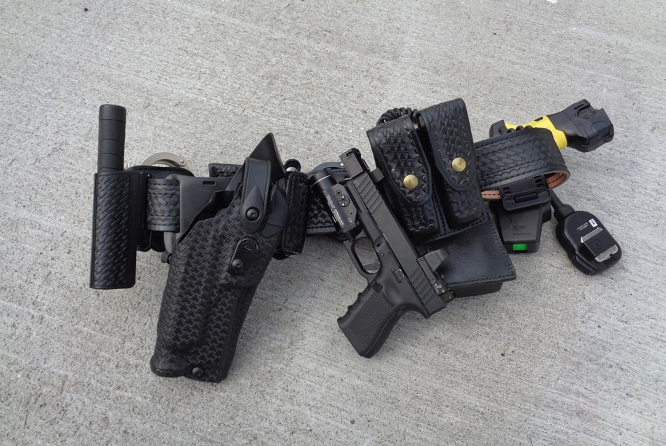 Duty pistol with MRDS and the duty rig to carry it (a basket weave Safariland holster that is red dot sight compatible).
