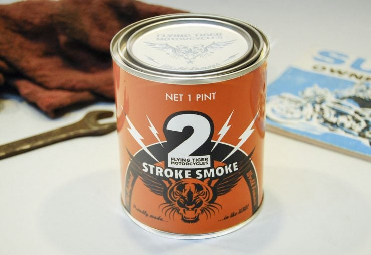 """Silodrome Gasoline Culture is advising Flying Tiger Motorcycles has released """"2 Stroke Smoke"""" scented candles for the grease-monkey, wrench-turners, and motorheads of the world."""