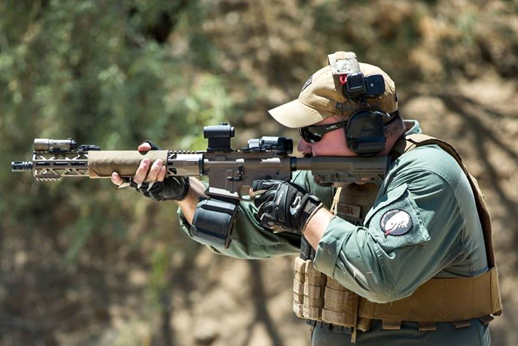 Russell Phagan with the KE-15 Action Carbine in competition.