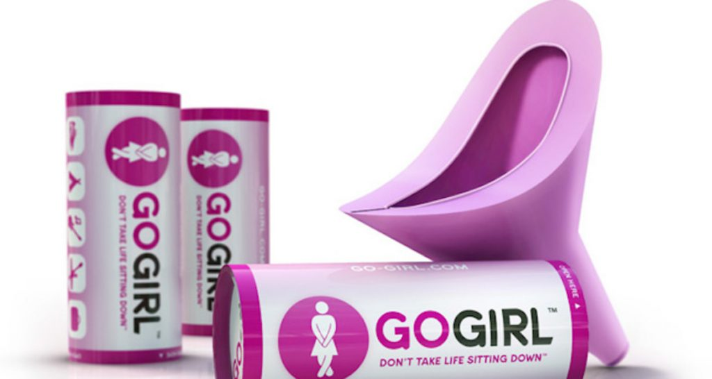 Go Girl Female Urinal Device, for when you can't sit down on the job.
