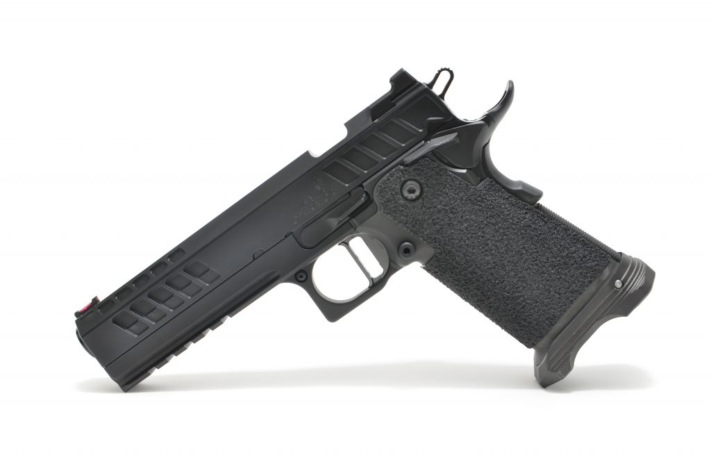 The Operator features a rear sight and railed frame among others.