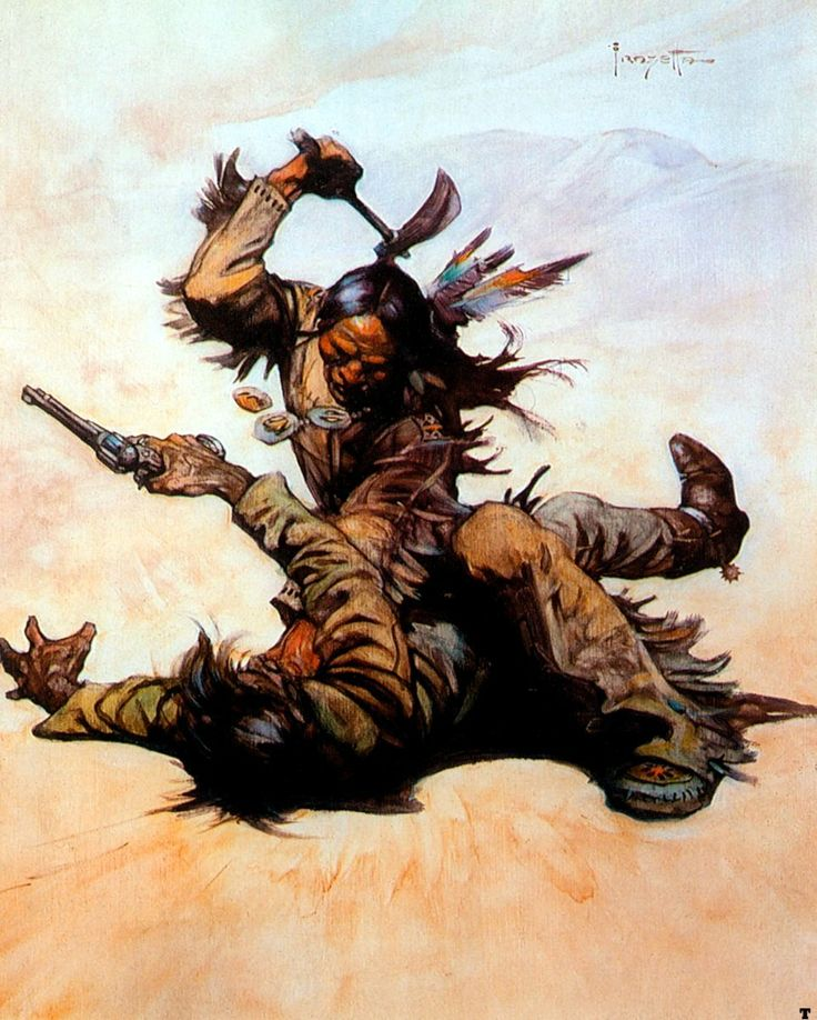 Frank Frazetta art - heroes with guns