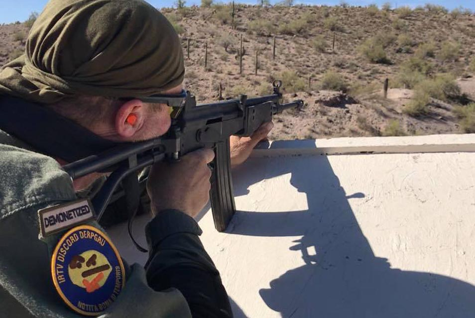 A competitor in action at the Desert Brutality shooting competition from InRange TV.
