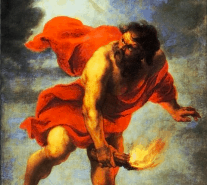 Prometheus stole fire, which was forbidden to men.