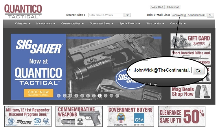 The Quantico Tactical e-mail newsletter brings frequent news of specials, discounts, package deals, and other goodness.