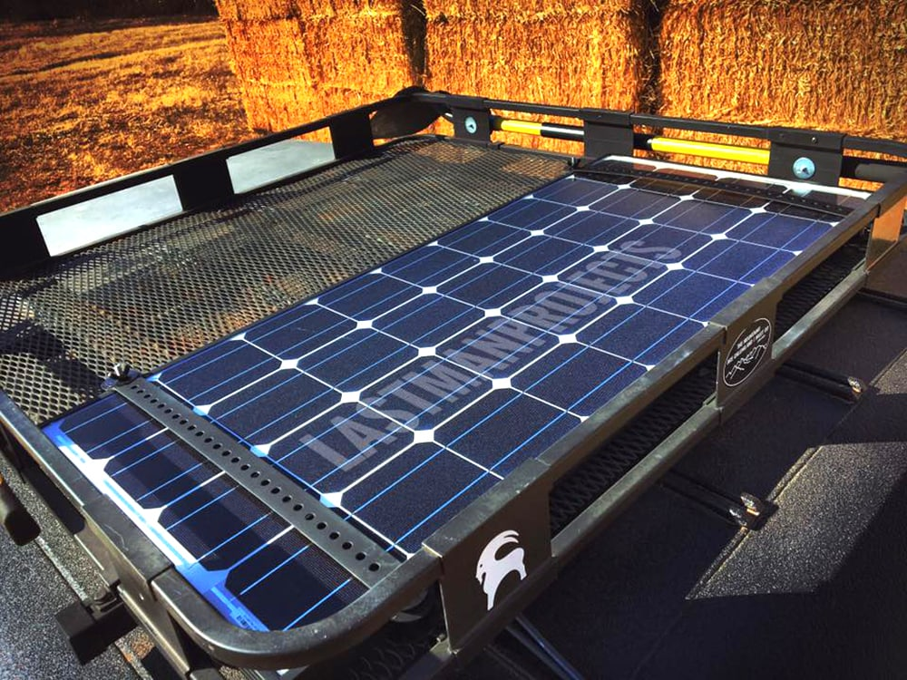 Image of solar battery attached to the top of the Ford Bronco