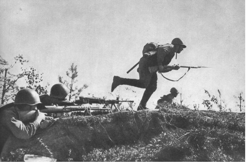 Soviet troops in a bounding advance.