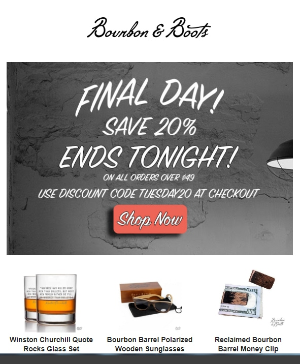 The Bourbon & Boots 20% off sale is about to expire.