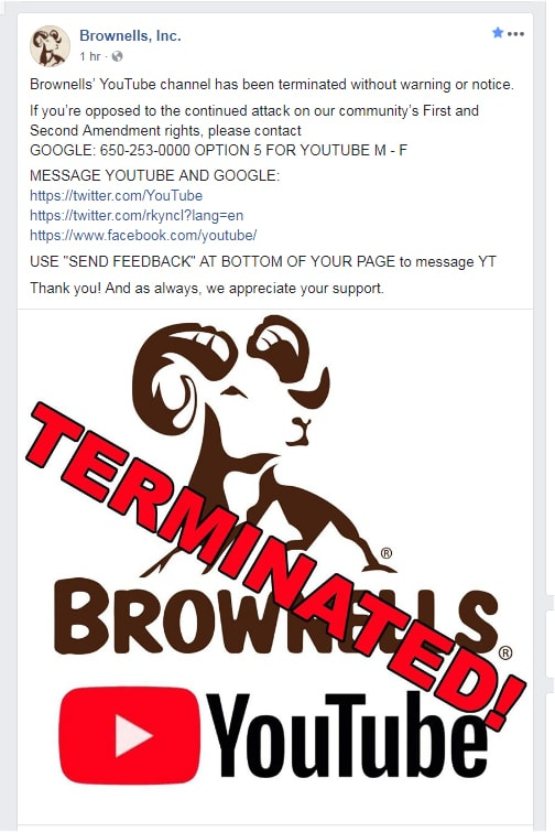 Brownells Video Channel Terminated