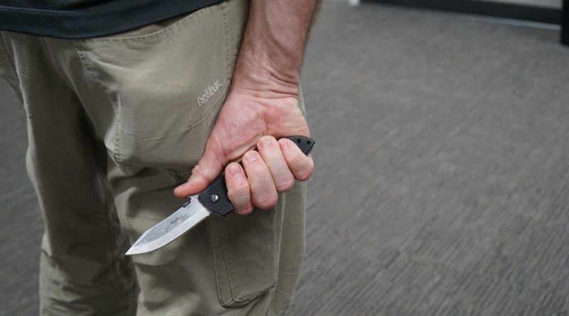 The covert draw - one element of knife fighting and using blades for defense.