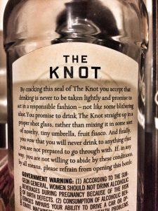 Back label of Knot Irish Whiskey