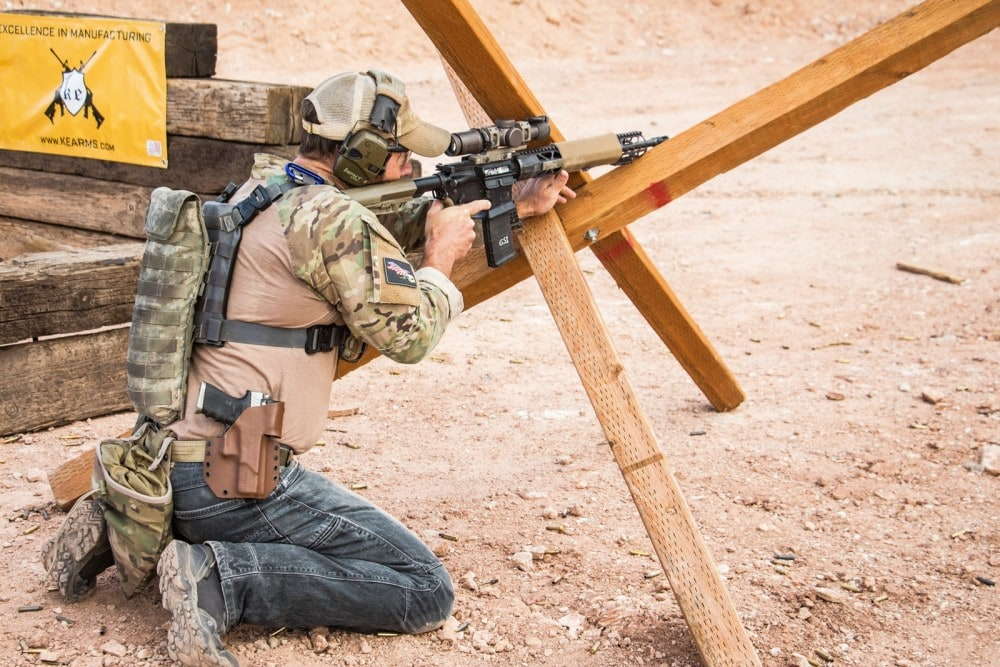Independence Training's Glen Stilson uses his KE-15 Shooting Team Rifle with Vortex Razor 1-6X to engage long range steel from the tank trap in the Trooper Armored Division of the HaH Heroes 2 Gun Action Match.