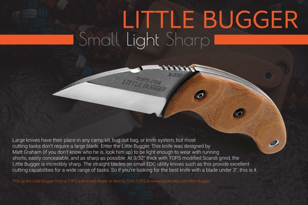 TOPS This Little Bugger fixed blade knife designed by Matt Graham of Graham Earthskills (@mattgraham_earthskills).