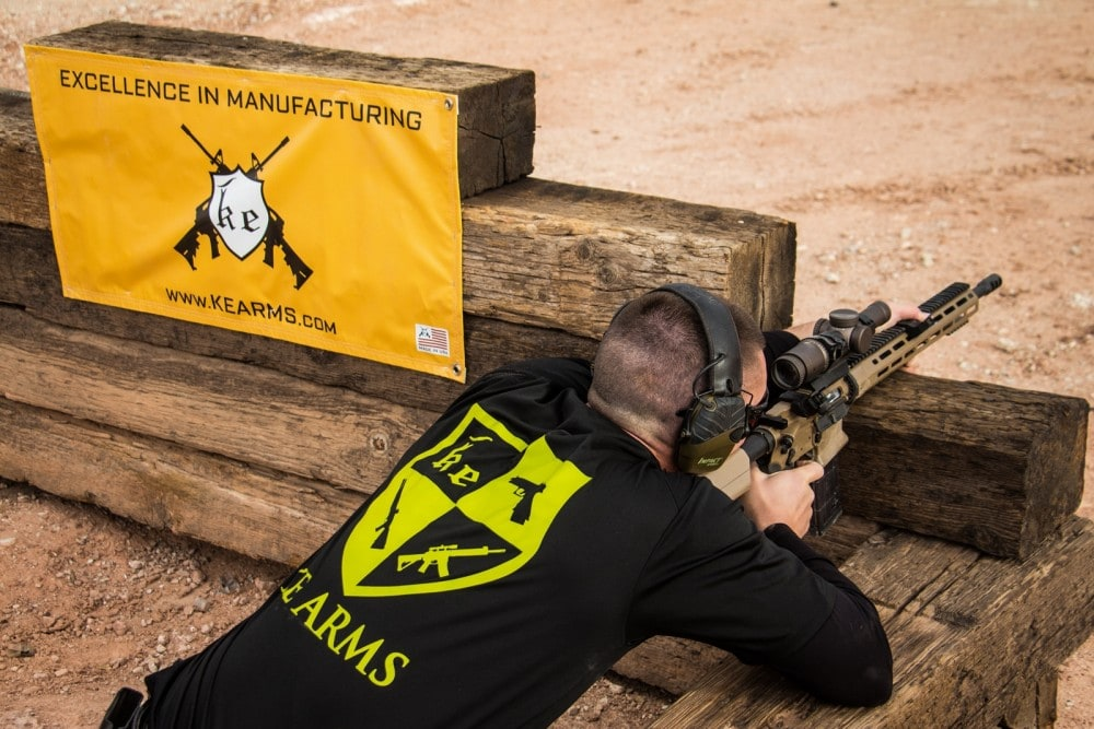 Competing in the Tactical Division of the Hard as Hell Heroes 2 Gun match, Jordan Henderson engages long range steel from the bunker with his KE-15 Shooting Team Rifle with Vortex Razor 1-6X at the Southern Utah Practical Shooting facility.