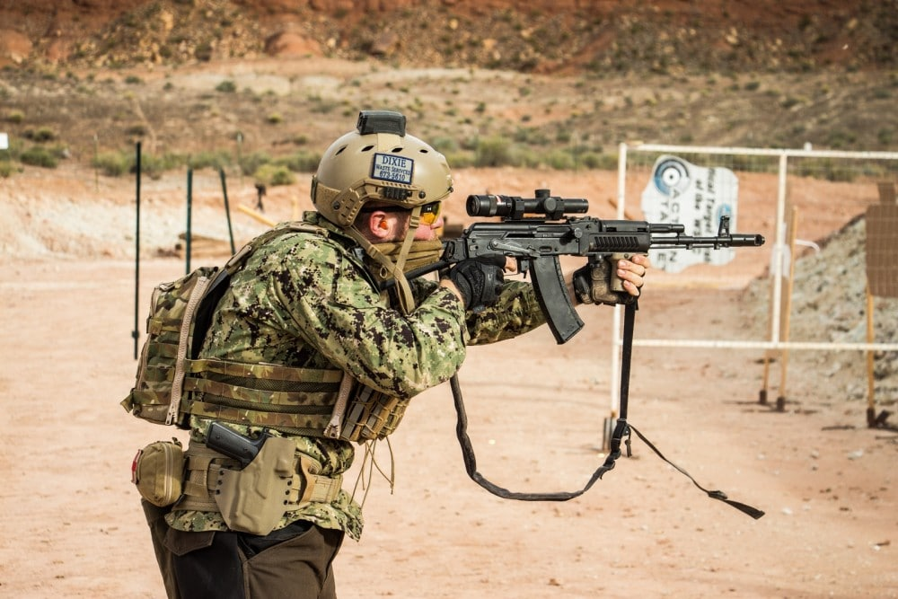 InRange's Karl Kasarda engages close range paper with his AK74 with Trijicon Accupoint at the Southern Utah Practical Shooting Range during the 2018 Hard as Hell Heroes 2 Gun Action Match.