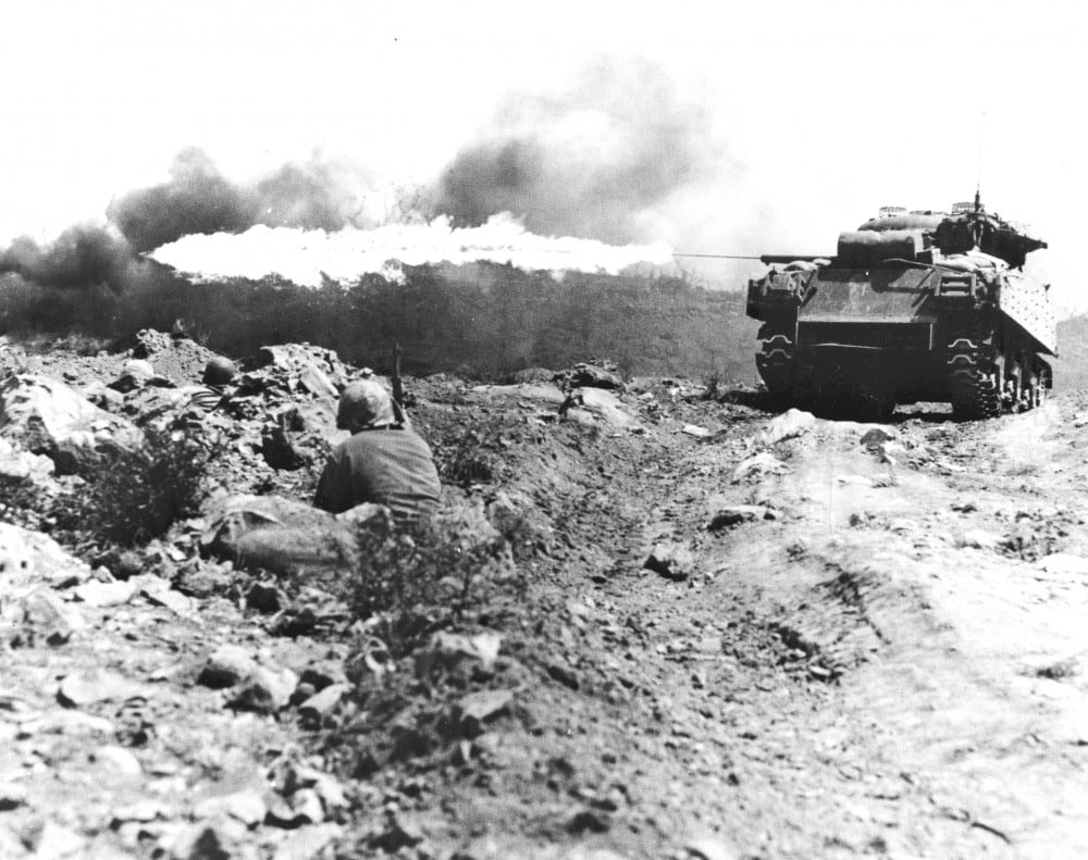 """""""Blowtorch"""" and """"Corkscrew"""" were two terms used to identify tactics of flamethrower tanks in action during the Pacific campaign."""